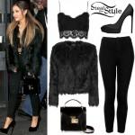Ariana Grande: Lace Bralet, Fur Jacket