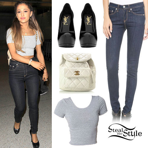 Ariana Grande: Grey Crop Tee, Dark Wash Jeans