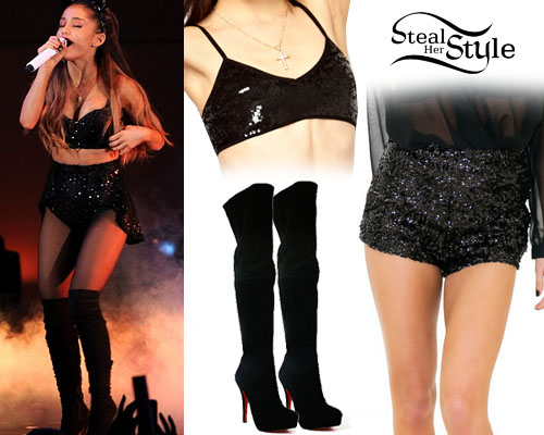Ariana Grande: Sequin Two-Piece, Thigh High Boots | Steal Her Style