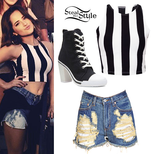 Becky G: Black & White Stripe Crop Top