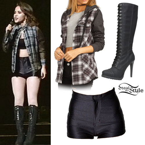 Becky G: Disco Shorts, Lace-Up Boots