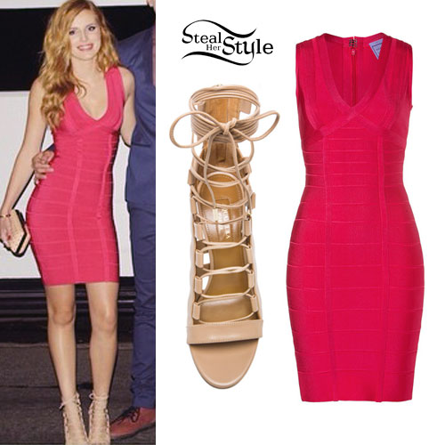 Bella Thorne: Bandage Dress, Lace-Up Sandals