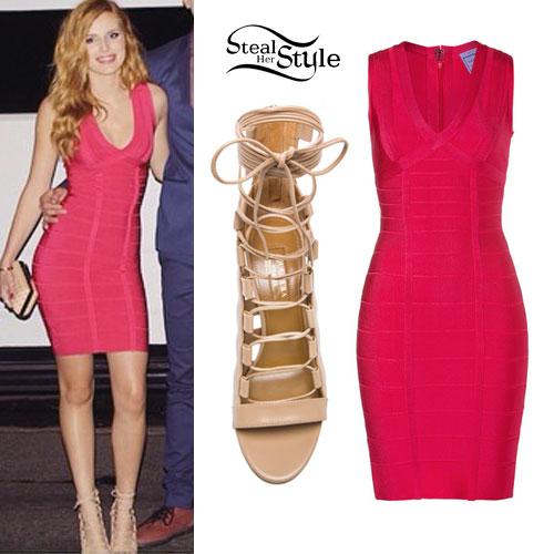 Bella Thorne: Bandage Dress, Lace-Up Sandals