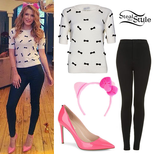 Bella Thorne: Bow Sweater, Pink Pumps