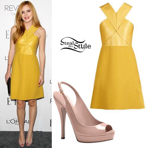Bella Thorne: Yellow Leather Dress, Slingbacks
