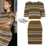 Beyoncé: Bronze Striped Sweater & Skirt Set