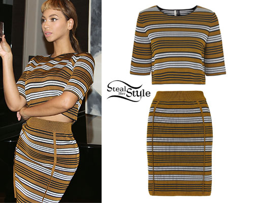 Beyoncé Bronze Striped Sweater Skirt Set