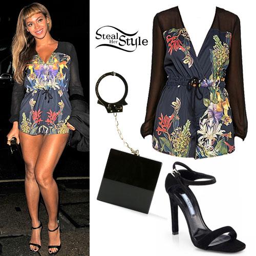 Beyonce: Floral Romper, Ankle Strap Sandals