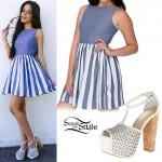 Camila Cabello: Striped Denim Skater Dress