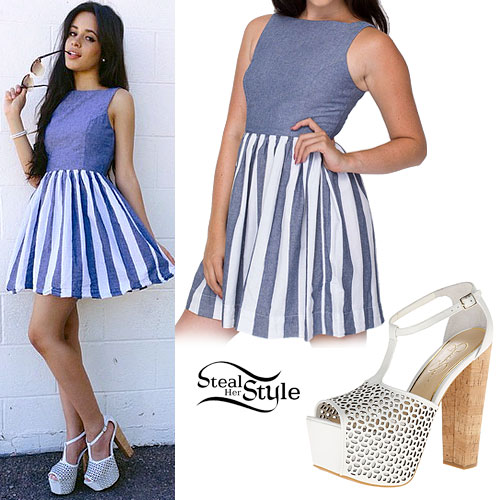 Camila Cabello Striped Denim Skater Dress Steal Her Style