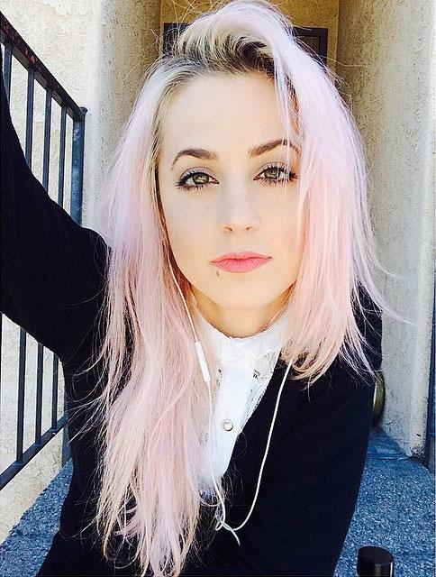 Carah Faye Charnow Straight Pink Choppy Layers Dark Roots