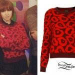 Carly Rae Jepsen: Red Leopard Print Sweater