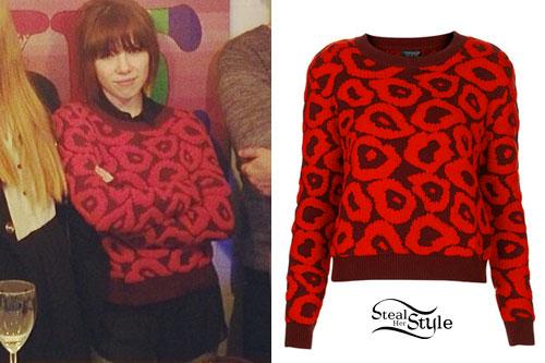 Carly Rae Jepsen: Red Leopard Print Sweater