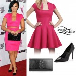 Demi Lovato: Pink Top & Skirt, Black Pumps