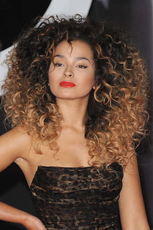 Ella Eyre Curly Black Afro Ombr 233 Two Tone Hairstyle