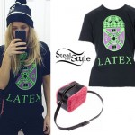 Ellie Goulding: 'Latex' T-Shirt, Furry Bag