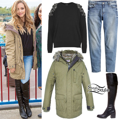 Jade Thirlwall: Green Parka, Knee Boots