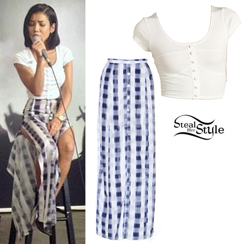 Jhené Aiko: Button Crop Top, Plaid Maxi Skirt
