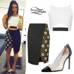 Jordin Sparks: Wrap Skirt, Clear PVC Pumps