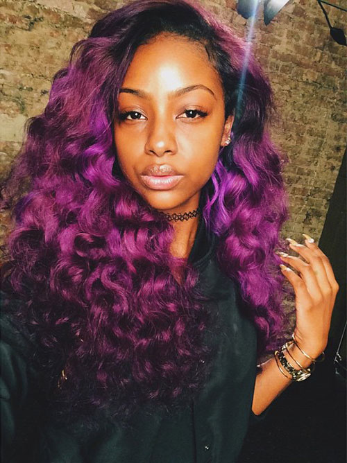justine skye curly purple side part hairstyle steal her