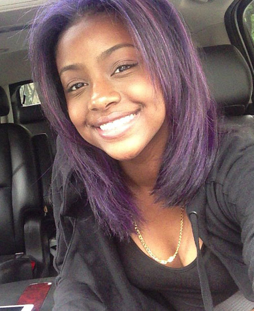 Justine Skye Straight Purple Angled Hairstyle Steal Her