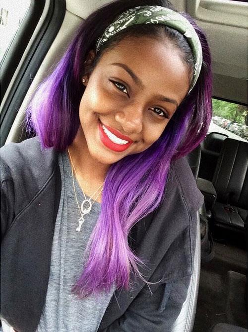 Justine Skye Straight Purple Headband Hairstyle Steal