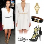 Leigh Anne Pinnock: White Dress, Leaf Sandals