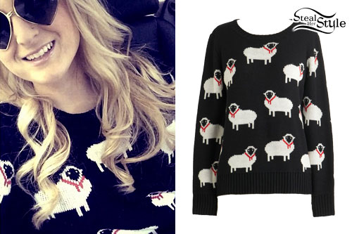 Meghan Trainor: Sheep Print Sweater