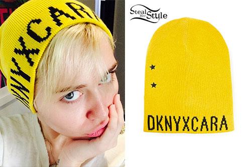 Miley Cyrus: Yellow DKNY x Cara Beanie