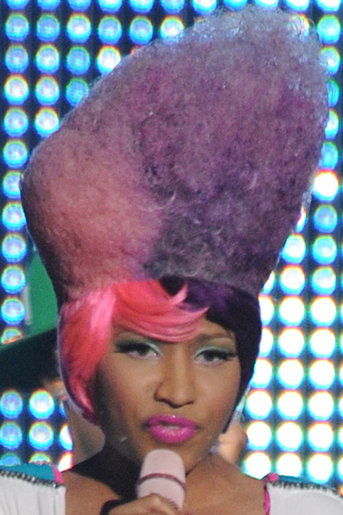 Nicki Minaj Teased Pink Purple Afro Split Color Two
