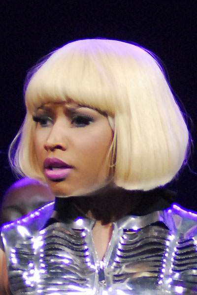 Nicki Minaj Straight Platinum Blonde Blunt Bangs Bob Wig