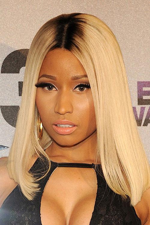 Nicki Minaj Straight Golden Blonde Blunt Cut Dark Roots