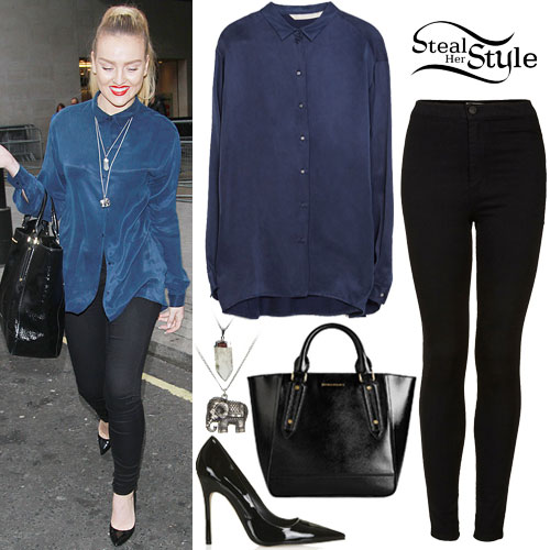 Perrie Edwards: Blue Shirt, Black Jeans