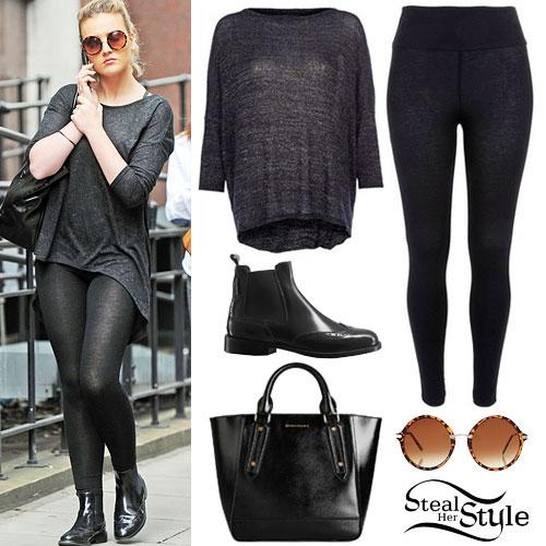 Perrie Edwards: Metallic Sweater, Black Leggings