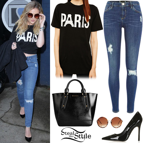 perrie edwards paris tee ripped jeans steal her style