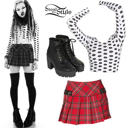 Rena Lovelis: Lips Print Top, Red Plaid Skirt