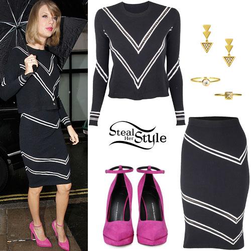Taylor Swift: Black Sweater, Pencil Skirt