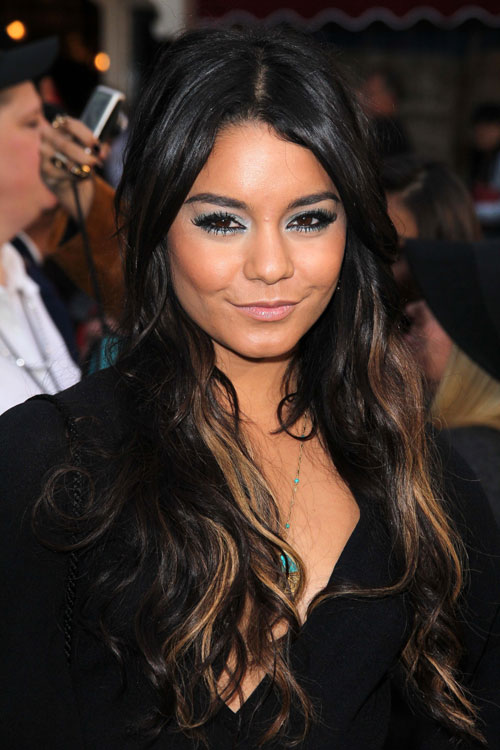 Vanessa Hudgens Wavy Black Peek A Boo Highlights Hairstyle Steal