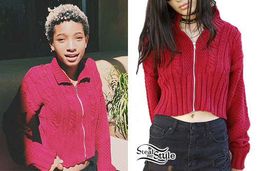 Willow Smith: Red Zipper Cardigan