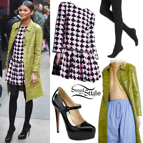 Zendaya: Green Coat, Geo Print Dress