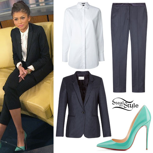 Zendaya: Navy Pinstripe Suit, Mint Pumps