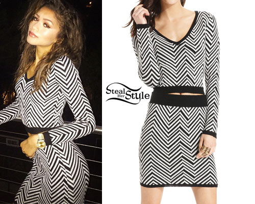 Zendaya: Zig-Zag Print Sweater & Skirt