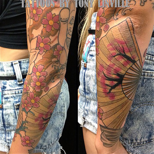 allison green fan arm tattoo