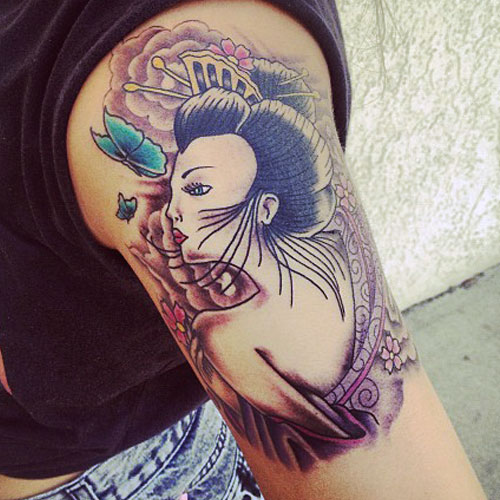 Allison Green geisha arm tattoo