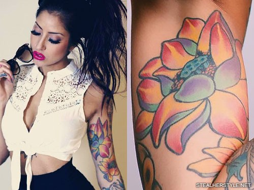 Allison Green flowers arm tattoo