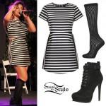 Ally Brooke: Striped Dress, Black Booties