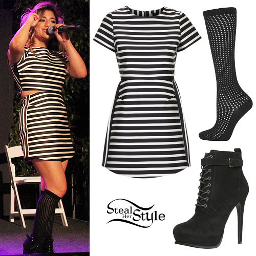 Ally Brooke: Striped Dress, Black Booties | Steal Her Style Fifth Harmony Ally Outfits