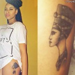 Amira McCarthy nerfertiti thigh tattoo