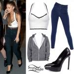 Ariana Grande: White Halter Top, Seamed Jeans