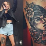 Asami Zdrenka portait thigh tattoo
